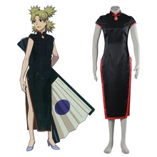 Naruto temari cosplay costume hot japanese anime cosplay negro chino cheongsam dress mujeres de halloween disfraces xs-xxxl