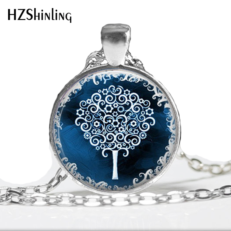 Tree Neklace White Tree Blue Necklace Art Glass Pendant Picture Pendant Photo Pendant Glass Cabochon Dome Pendant Necklace HZ1