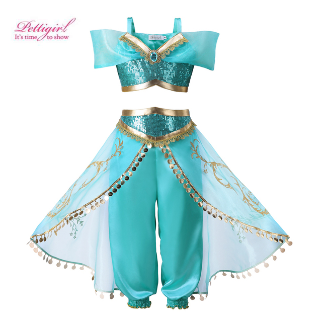 85adf891d Pettigirl Princess Jasmine Costume Girls Clothing Set Aladdin's Lamp Baby  Cosplay Halloween Clothes For Kids Children's