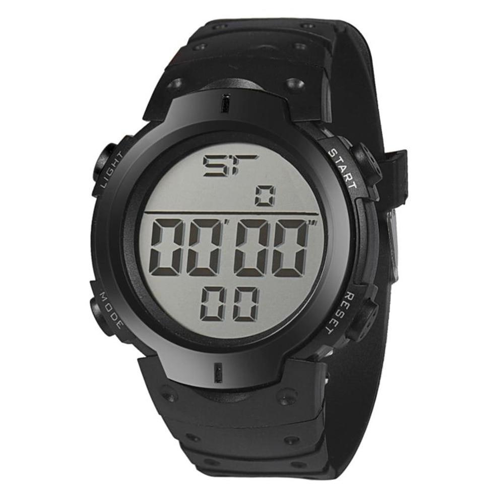 Digital watch 2017 Waterproof Men's Boy LCD Digital Stopwatch Date Rubber Sport Watches Men Wristwatch Bangle Bracelet 17Jun27