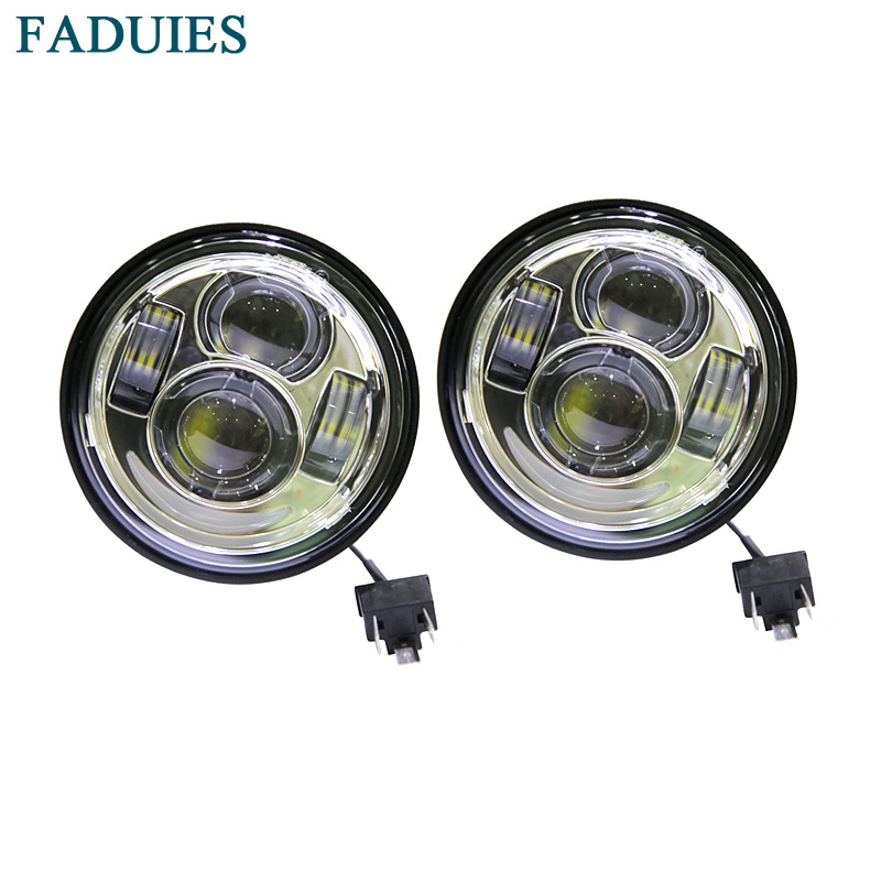 "FADUIES Ny Motorcycle Led forlygte Chrome 4.65 ""Dual LED-lyskaster med DRL For Harley Davidson Dyna Fat Bob Ledet Headlamp"