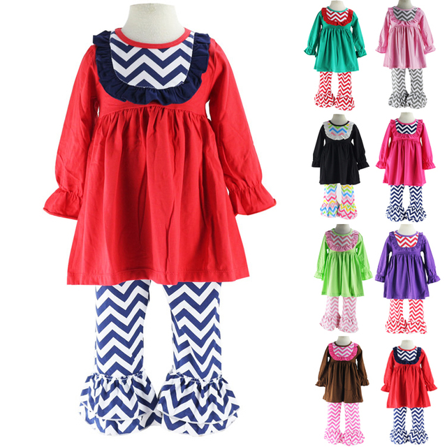 Wennikids Little Girls Chevron Bib Dress and Ruffle Pants Legging Two-Piece Set Girl Christmas Clothes outfits Baby Clothing set