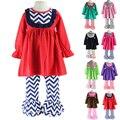Wennikids meninas chevron bib dress e plissado calças legging two-piece set menina roupas roupa do natal roupas de bebê conjunto