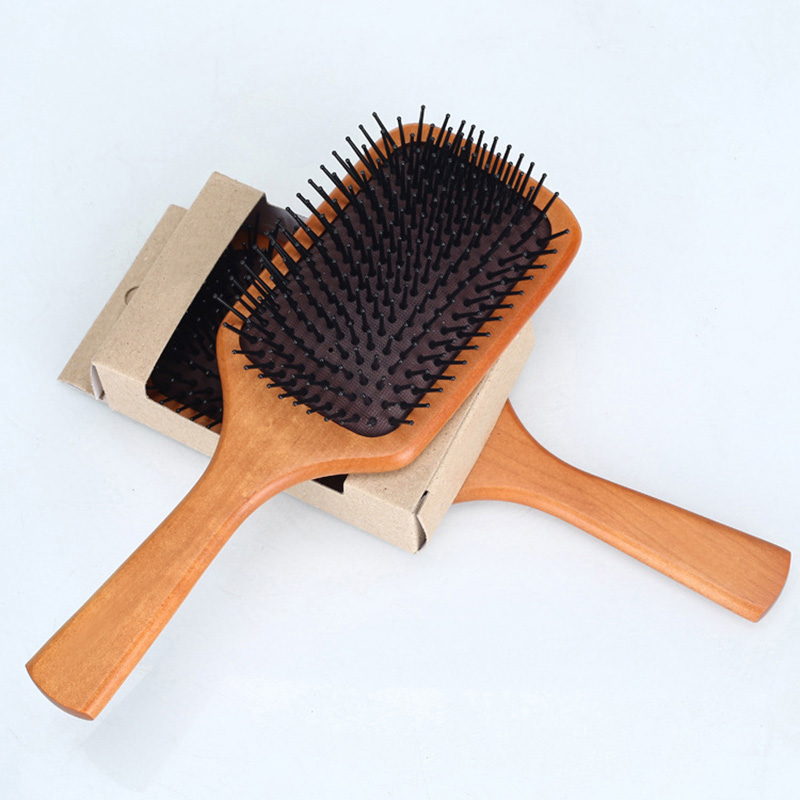 Massage Comb Paddle Brush Antistatic Combanti-static Natural Wooden Massage Hairbrush Comb Scalp Massaging Shampoo Brush