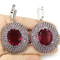 Longo Grandes brincos de Pedras Preciosas Turmalina Rosa, ametista, branco Cz Criado SheCrown da Mulher Brincos de Prata 60x37mm