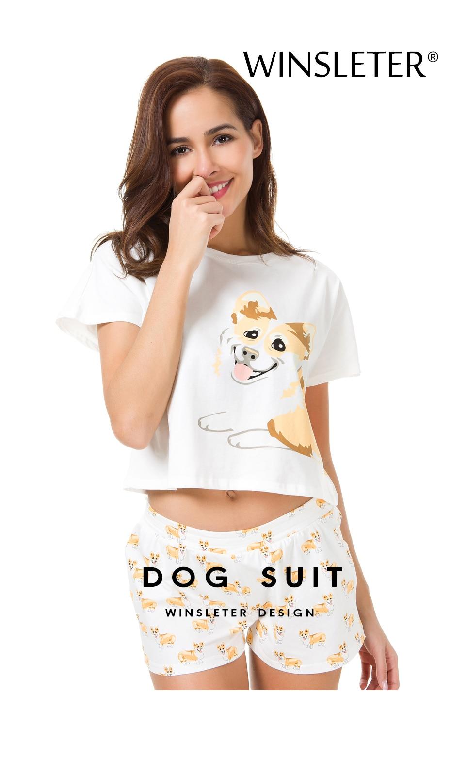 43f1e5690 Ship From The US Corgi Pajamas Women Dog Print Crop Top Shorts 2 Pieces Set  Cotton Pajamas Loose Elastic Waist pyjamas S61004