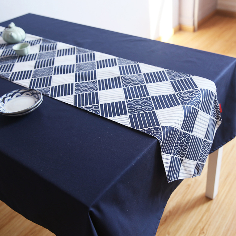 yazi Japan Style Cotton Linen Table Runner Geometric Tablecloths Home Restaurant Banquet Party Decor 3 Size
