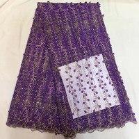 Tessuto di pizzo francese con pietre viola rosso blu peach ricamato applique High-end abito da sposa accessori 5 yards/pcs QA865