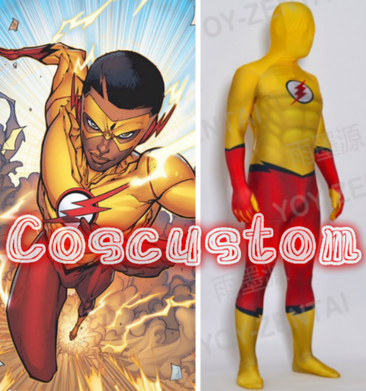 Coscustom High Quality Superhero Kid Flash Costume Lycra Spandex Zentai Suit with 3D muscle shades Halloween Cosplay Costume