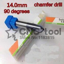 14mm * 90 stopni * 80mm 1 sztuk 4 flety stałe węglika do wiercenia i fazowania frez do fazowania wiertło rozwiercające Bit darmowa wysyłka