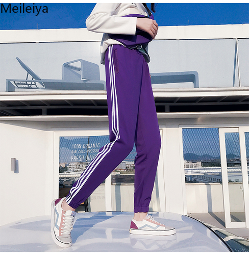 Side Three Striped Sweatpants For Women 2019 Spring High Waist Casual Pants Loose Harem Pants Plus Size School Trousers Femme