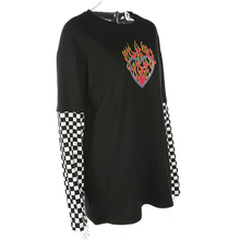 Women Plaid Patchwork Long Sleeve Flaming Heart Print Sweatshirt Autumn Winter Black Checkboard Pullover Hoodies