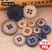 Four Holes Wooden Handmade Buttons 100pcs Solid Resin Environmental Concave With Letters Fashion Plus Size
