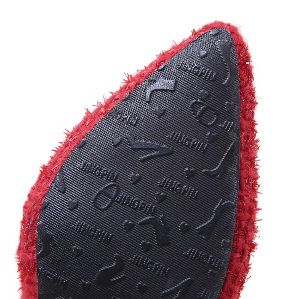 AIYKAZYSDL Sonbahar Kış sıcak Botlar Bayan Tüvit yarım çizmeler Saçak Yıpranmış Püskül Bootie Kısa Peluş Polar Bootie Stiletto Topuklu