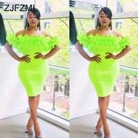 Néon vert jaune élégant Bandage robe femmes en cascade à volants dos nu Slim Fit robe d'été Slash cou courte robe portefeuille