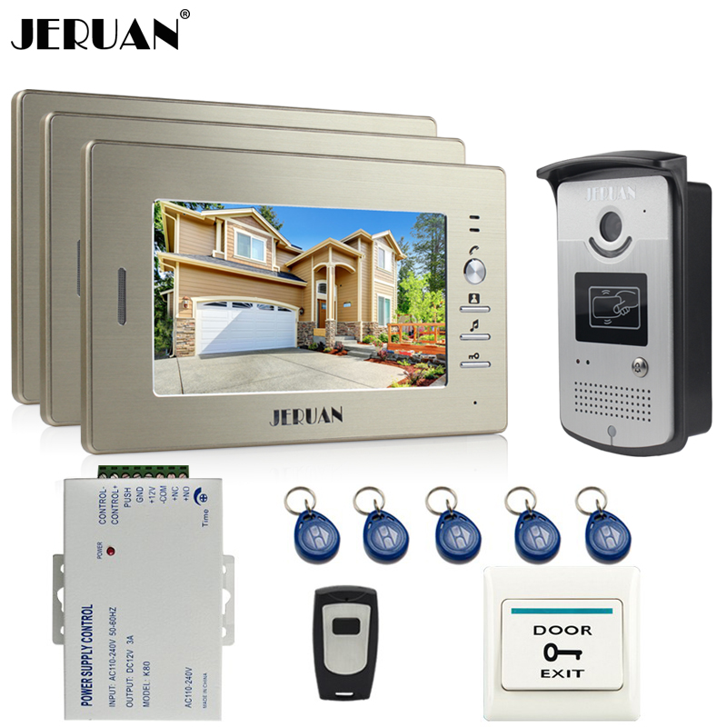 JERUAN 7`` LCD Video Door Phone Intercom System video Doorbell kit 3 Monitor 700TVL RFID Access COMS Camera + Remote Control jeruan home 7 video door phone intercom system kit 1 white monitor metal 700tvl ir pinhole camera rfid access control in stock