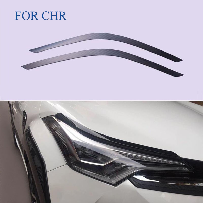 Fit For C HR CHR 2017 2018  head front Eyebrow/trim light lamp frame stick ABS CARBON FIBRE for CHR Exterior CAR Styling|lamp frame|light trim|eyebrow trim - title=