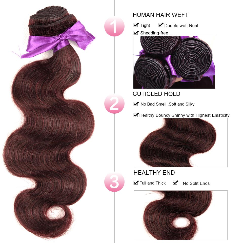 Burgundy Bundles With Closure Red Hair Body Wave Bundles Brazilian Hair Weave 3 Bundles Pinshair Non Remy Hair Can Be Restyle