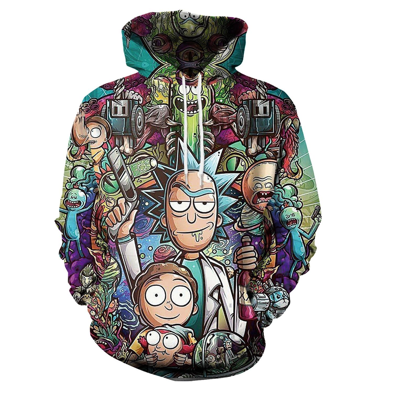 Hoodies Anime Rick and Morty 3D Print Hoodies with Hat Men Hoodie Loose Hooded Sweatshirt Sudaderas Para Hombre Streetwear