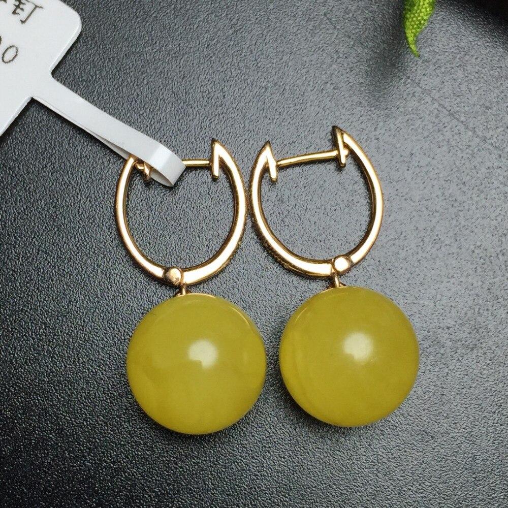Fine Jewelry Настоящее 18 К розовое золото AU750 100% природа янтарный камень женские серьги прекрасный подарок женщин серьги