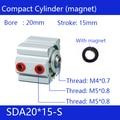 Компактные Воздушные цилиндры SDA20 * 15-S  диаметр 20 мм  ход 15 мм  два действия  Воздушный Пневматический магнит  цилиндрический цилиндр с магнит...