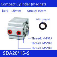 SDA20*15-S 20mm Bore 15mm Stroke Compact Air Cylinders SDA20X15-S Dual Action Air Pneumatic Cylinder Magnet