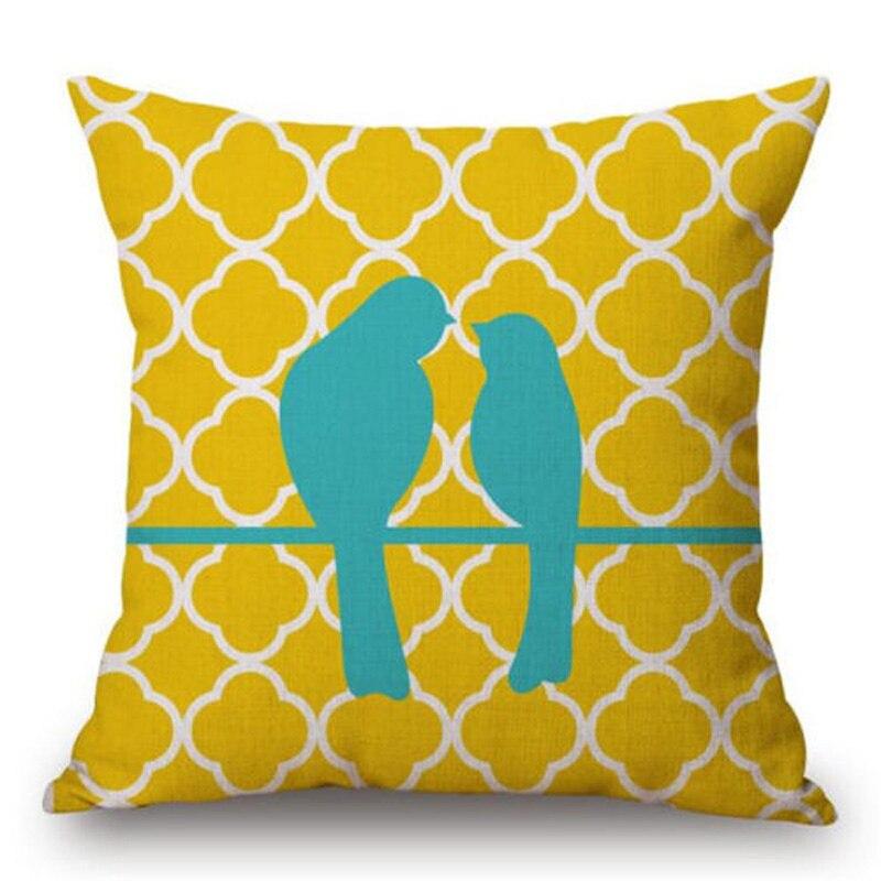 Wave Shape Bird Pillow Cover Colorful Cushion Covers Sofa Bed Throw Pillow Case Linen Cotton Pillowcase 45x45 cm Home Decoration