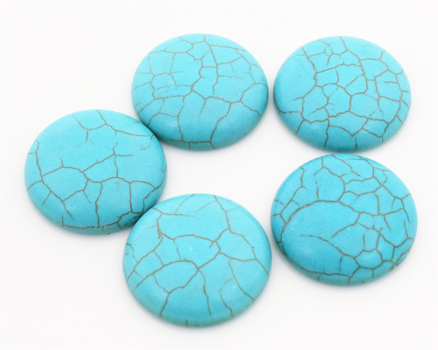 New Fashion 10pcs 25mm  Naturelle Turquoise Material Flat Back Cabochons Cameo  G4-17