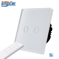 BIngoelec 2 Gang 1 Way Touch Switch Wireless Remote Light Switch Luxury Glass Panel Sensor Screen Switch With Remote Controller