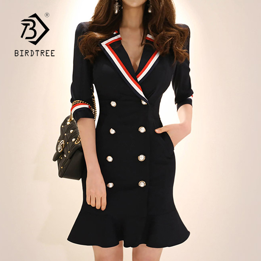 New Women Solid Notched Double Breasted Ruffles High Waist Bodycon Blazer Dress Elegant Office Lady Jacket Hot D86011F