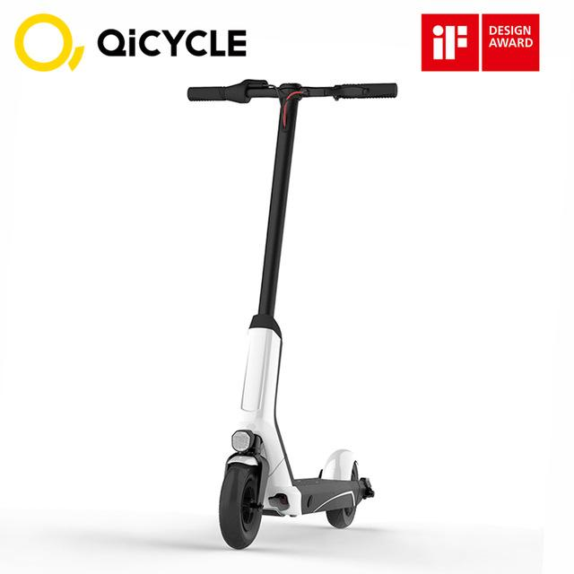 Xiaomi QiCYCLE EUNI ES808 Electric Bike 8 inch Tire 5.2Ah Folding Electric Scooter Bluetooth BMS Dual Braking System 250W White