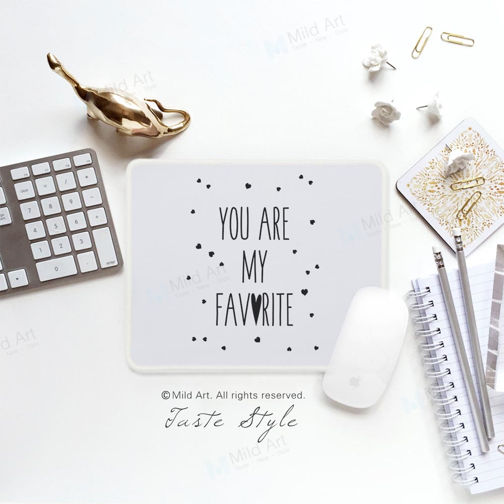 Nordic Style Love Quotes Cute Kawaii Art Design Heart Print Baby Girl Kids Mum Gift PC Desk Laptop Gaming Computer Mouse Pad Mat