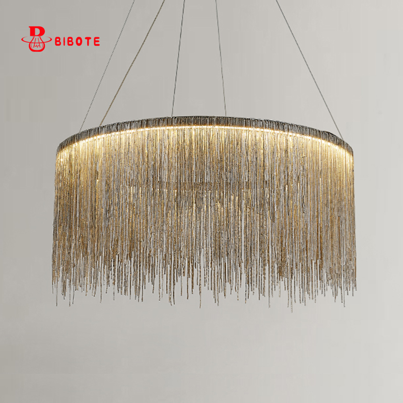 Modern Air Tassel Aluminum Chain Chandelier Lights Lighting Nordic Design Art Deco Chandeliers Lustre Avize Led Ceiling Lustres