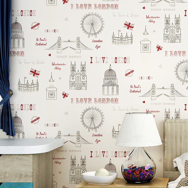 Online New Kids Room Cartoon Architecture Wallpaper For