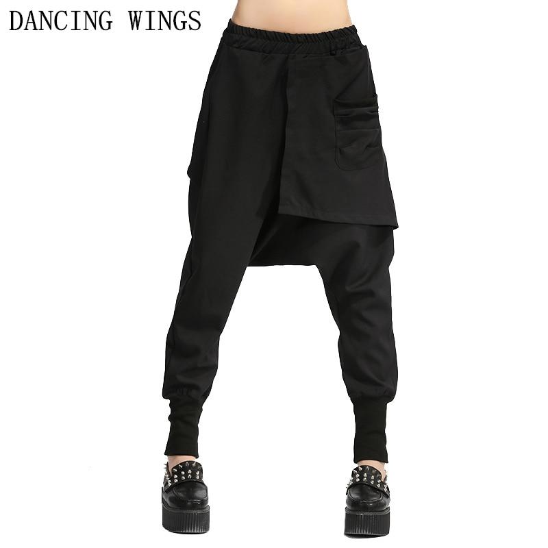 Spring Autumn Women Casual Pants Femme Fashion Hip Hop Dance Big Crotch Harem Pants Black