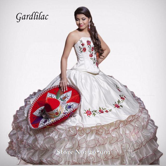 Gardlilac Luxuosos Vestidos Quinceanera 2017 vestido de Baile Bordados contas de Cristal Vestidos De 16 Años Vestidos Quinceanera Barato