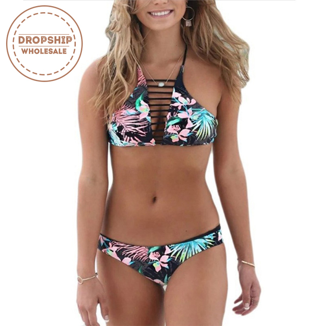 4a7f46c00f Aliexpress.com   Buy Cut out Flower Print Women Bikini Set High Neck Cross Top  Bikinis HOT Summer SEXY Swimsuit Swimming Pool Swimwear Bodysuit from ...