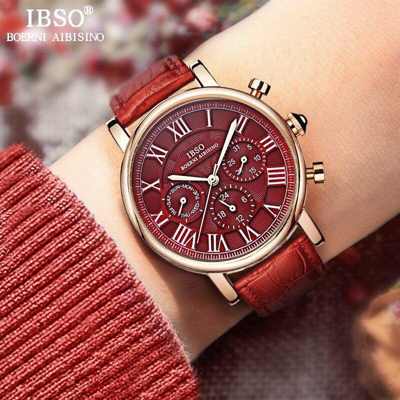 IBSO Винтаж красные кожаные для женщин часы 2018 Элитный бренд календари многоцелевой повседневные часы женские наручные часы Montre Femme