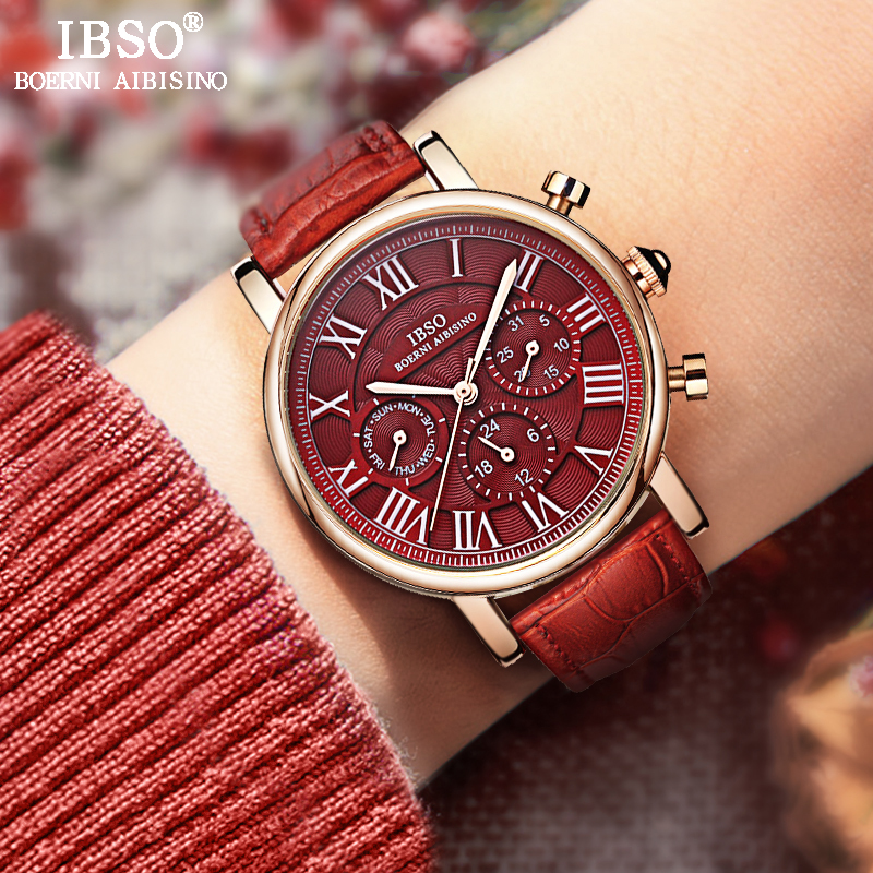 IBSO Vintage Red Läder Klockor Kvinnor Luxury Brand Kalender Multifunktion Quartz Watch Ladies Armbandsur 2019 Bayan Kol Saati