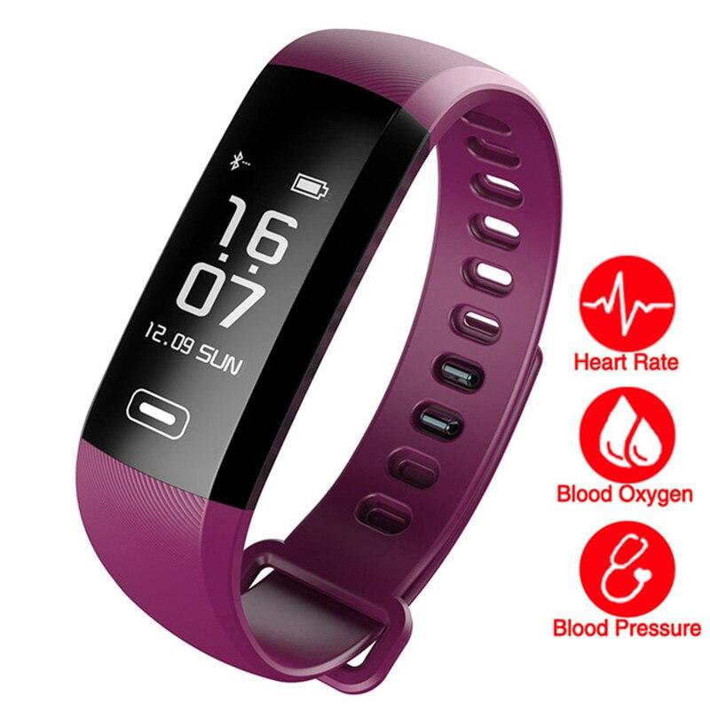 Смарт-браслеты Фитнес трекер Браслет сердечного ритма крови Давление часы импульса метр кислорода SMS вызова спортивный ремешок для IOS и Android