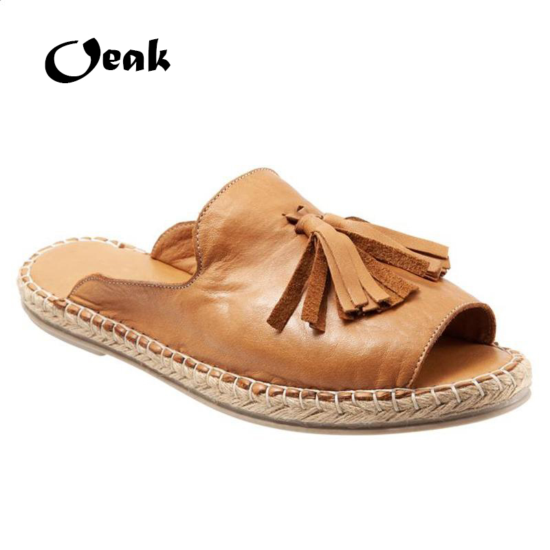 Oeak Women Summer Beach Slippers Comfort Tassels Female Casual Flax Slip On Slipper Sandals Indoor Outdoor Shoes Plus Size 43Oeak Women Summer Beach Slippers Comfort Tassels Female Casual Flax Slip On Slipper Sandals Indoor Outdoor Shoes Plus Size 43
