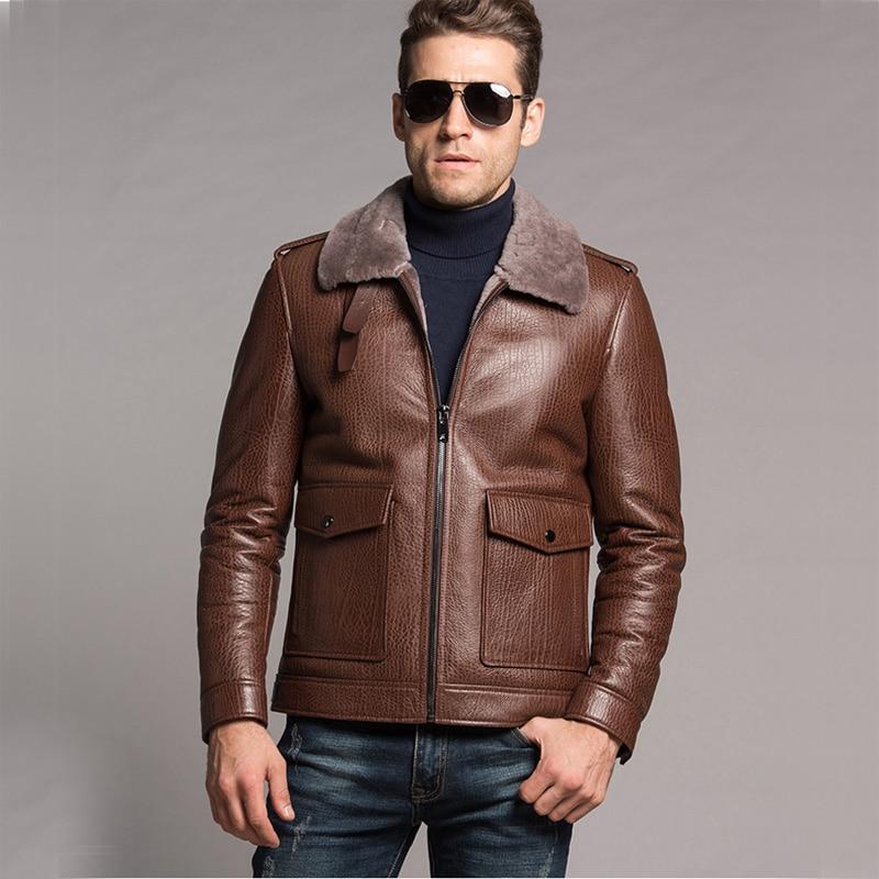 Men's Shearling Jacket Leather Coat Flight Jacket Genuine ...