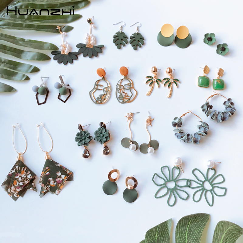 HUANZHI Earrings-Set Flower Geometric Circle Acetate Acrylic Resin Girl Women New Green