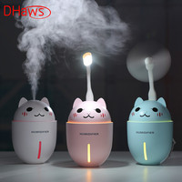 DHaws 3in1 320ML USB Air Humidifier Ultrasonic Cool Mist Adorable Pet Mini Humidifier Aroma Diffuser With LED Light And USB Fan