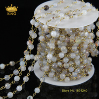 5Meter/Lot Fashion Rosary Chain Natural Grey Ag ate 6mm Round Beaded Chains Gold Silver or Brass Plated Chain Necklace JD052