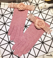 Small Real Silk Ribbon Bow Flower The Five Fingers Glove Woman Winter. Part Finger Student Fashion gloves
