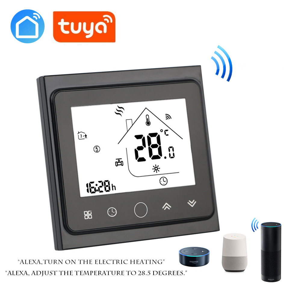 Tuya App Thermostat For Electric Heating 16A LCD Display Temperature Controller For Electric Floor Heating