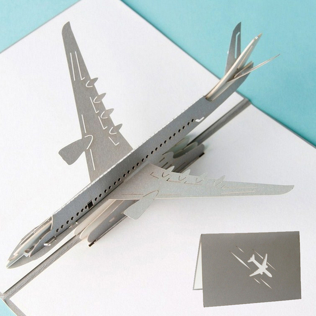 3d pop up airplane greeting cards christmas birthday valentine invitation - Airplane Christmas Cards