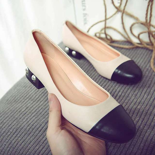 Krazing Pot New fashion brand shoe big size pearl shallow round toe mixed colors high heel women pumps party office lady shoe 03
