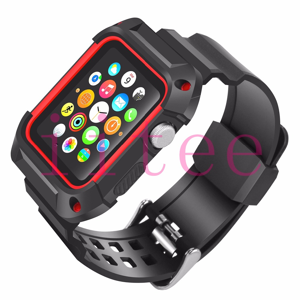 Iitee Shockproof Rugged Protective Case With Black Band Straps For Apple Watch Series 2 38mm 1 Without Screen Protector In Watchbands From Watches On